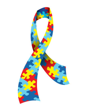 A vector illustration of an Autism Awareness Ribbon made with a symbolic jigsaw puzzle pattern in autism colors. Vector EPS 10 available. EPS file contains transparencies.