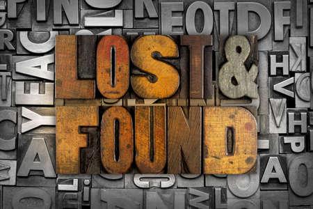 The words LOST & FOUND written in vintage letterpress type