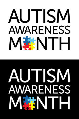 The words Autism Awareness Month with jigsaw puzzle pieces. Autism Awareness colors and symbols, conveniently provided on a light and dark background. Vector EPS 10 available.