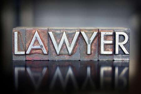 The word LAWYER written in vintage lead letterpress type