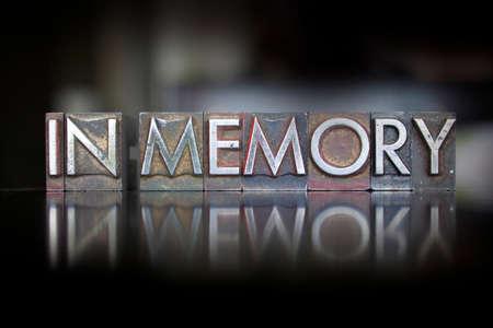 The words In Memory written in vintage letterpress type