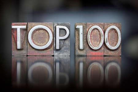 The words Top 100 written in vintage letterpress type