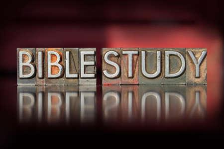 The words Bible Study written in vintage letterpress type