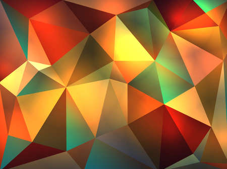 A colorful and warm abstract background of glowing triangles of reds, greens, oranges, peach, colors illustration.