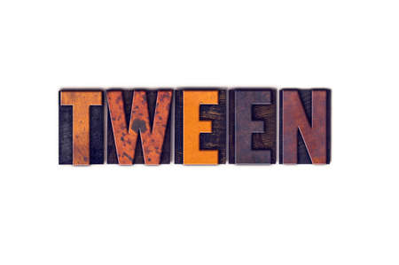 The word Tween written in isolated vintage wooden letterpress type on a white background.