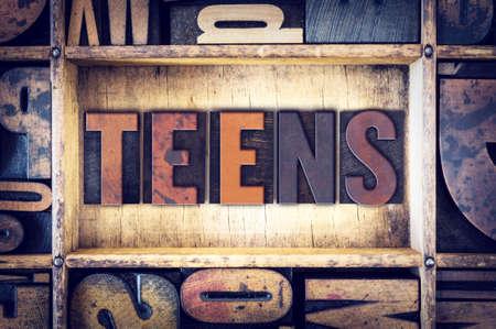 The word Teens written in vintage wooden letterpress type.