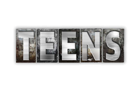 The word Teens written in vintage metal letterpress type isolated on a white background.