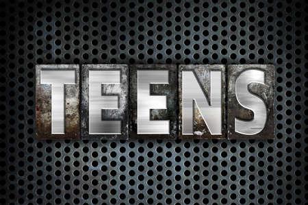 The word Teens written in vintage metal letterpress type on a black industrial grid background.