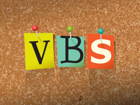 The word VBS written in cut ransom note style paper letters and pinned to a cork bulletin board. Vector EPS 10 illustration available.