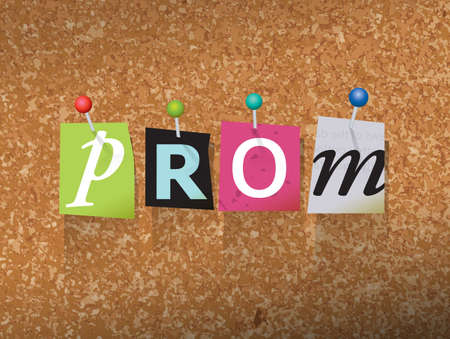 The word PROM written in cut ransom note style paper letters and pinned to a cork bulletin board. Vector EPS 10 illustration available.