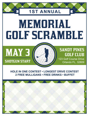 Illustration for A template for a golf tournament scramble invitation flyer. - Royalty Free Image