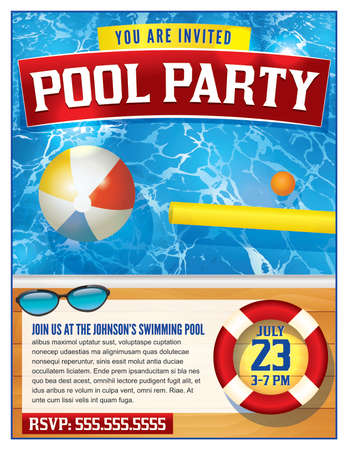Illustration for A template for a pool party invitation. Vector EPS 10 available. - Royalty Free Image