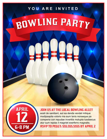 Illustration for A bowling party flyer template great for birthday parties, bowling leagues and tournaments. - Royalty Free Image