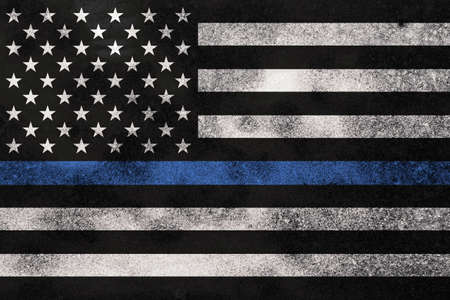 Photo for An American flag symbolic of support for law enforcement. - Royalty Free Image