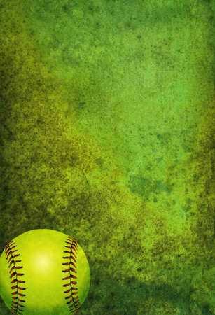 Photo pour A green textured softball background with ball. Room for copy. - image libre de droit