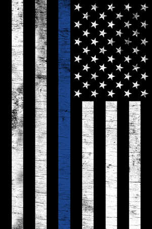 Photo for A police law enforcement support flag shown vertically with a grunge texture. - Royalty Free Image
