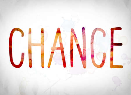The word Chance written in watercolor washes over a white paper background concept and theme.
