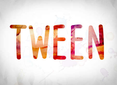 The word Tween written in watercolor washes over a white paper background concept and theme.
