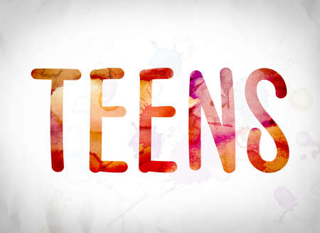 The word Teens written in watercolor washes over a white paper background concept and theme.