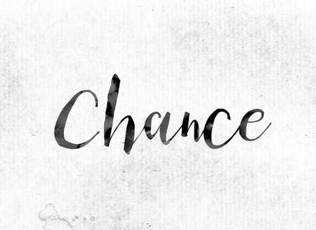 The word Chance concept and theme painted in watercolor ink on a white paper.