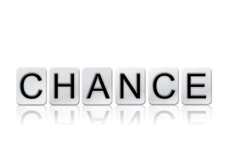 The word Chance written in tile letters isolated on a white background.