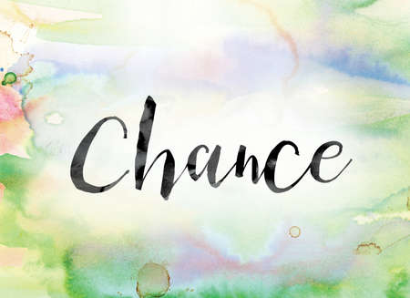 The word Chance painted in black ink over a colorful watercolor washed background concept and theme.