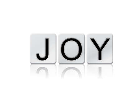 The word Joy written in tile letters isolated on a white background.