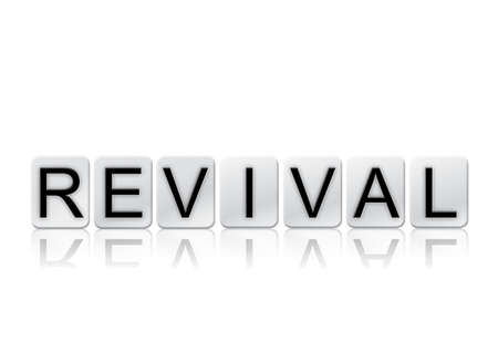 The word Revival written in tile letters isolated on a white background.