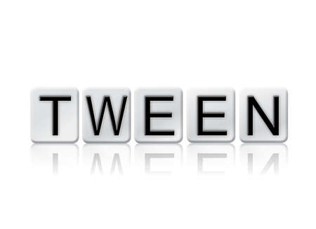 The word Tween written in tile letters isolated on a white background.