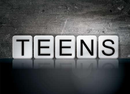 The word Teens written in white tiles against a dark vintage grunge background.