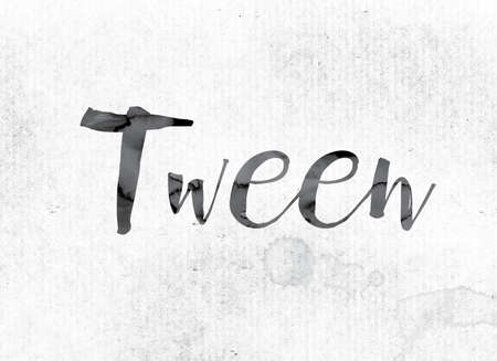 The word Tween concept and theme painted in watercolor ink on a white paper.