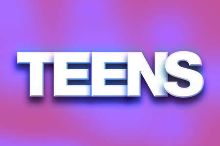 The word Teens written in white 3D letters on a colorful background concept and theme.