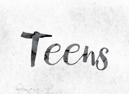 The word Teens concept and theme painted in watercolor ink on a white paper.
