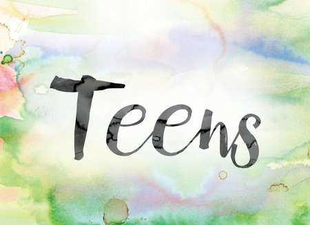 The word Teens painted in black ink over a colorful watercolor washed background concept and theme.