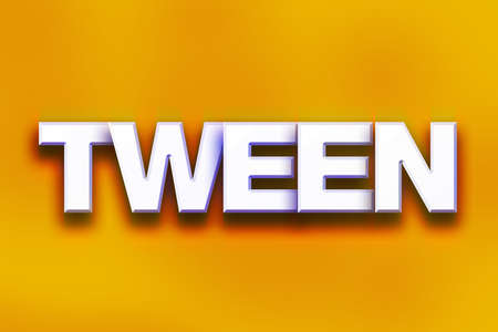 The word Tween written in white 3D letters on a colorful background concept and theme.