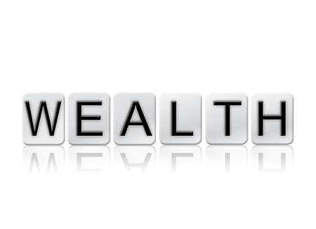 The word Wealth written in tile letters isolated on a white background.