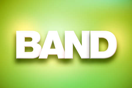 The word Band concept written in white type on a colorful background.
