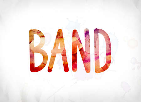 The word Band concept and theme painted in colorful watercolors on a white paper background.