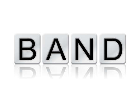 The word Band concept and theme written in white tiles and isolated on a white background.