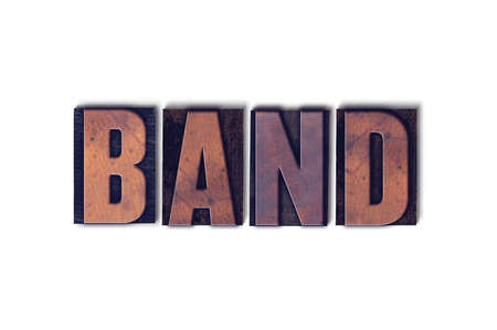 The word Band concept and theme written in vintage wooden letterpress type on a white background.
