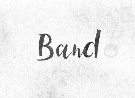 The word Band concept and theme painted in black ink on a watercolor wash background.