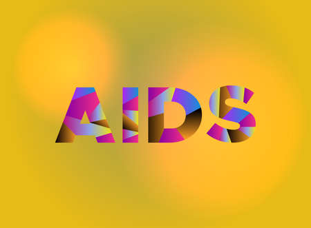 The word AIDS written in colorful fragmented word art on a