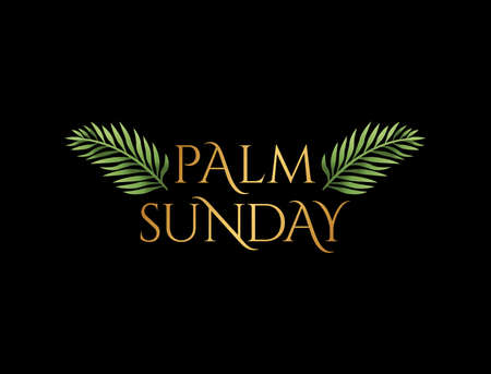 Illustration for A Christian Palm Sunday religious holiday with palm branches and leaves illustration. Vector is available. - Royalty Free Image