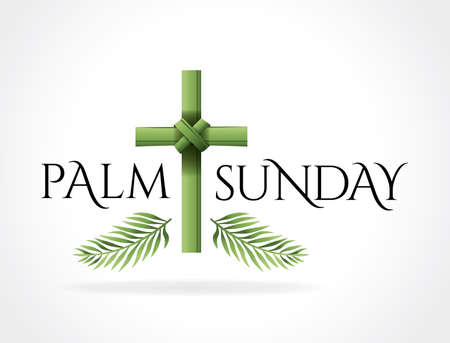 Illustration for A Christian Palm Sunday religious holiday with palm branches and leaves and cross illustration. Vector EPS 10 available. - Royalty Free Image