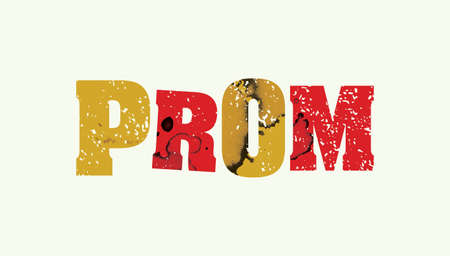 The word PROM concept printed in letterpress hand stamped colorful grunge paint and ink.