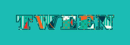 The word tween concept written in colorful abstract typography.
