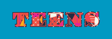 The word teens concept written in colorful abstract typography.