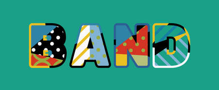The word BAND concept written in colorful abstract typography.