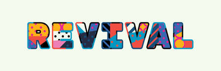 The word REVIVAL concept written in colorful abstract typography.