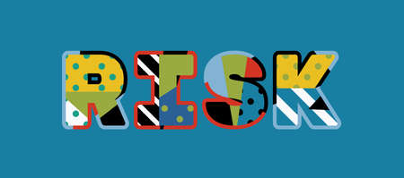 The word RISK concept written in colorful abstract typography. Vector EPS 10 available.